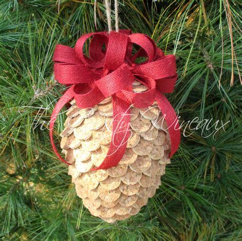 pine cone ornaments large winecone wine cork pine cone christmas ornament in