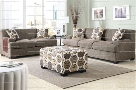 Retro Style Sofa And Loveseat Set Slate Linen Fabric Ottoman