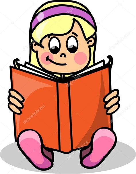 imagenes animadas leyendo un libro chica de dibujos animados leyendo un libro vector de