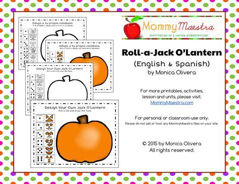 roll a jack o lantern printable mommy maestra roll a jack o lantern