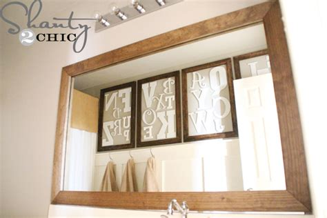 diy mirror frame bathroom diy mirror easy upgrade shanty 2 chic