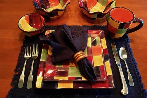 multi colored dishes multi colored dishes in a casual setting tanta s table