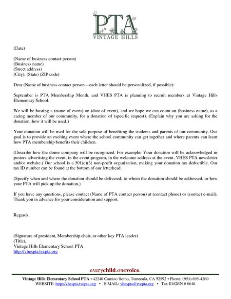 Sponsorship Letter Pta Best Photos Of Successful Donation Request Letters