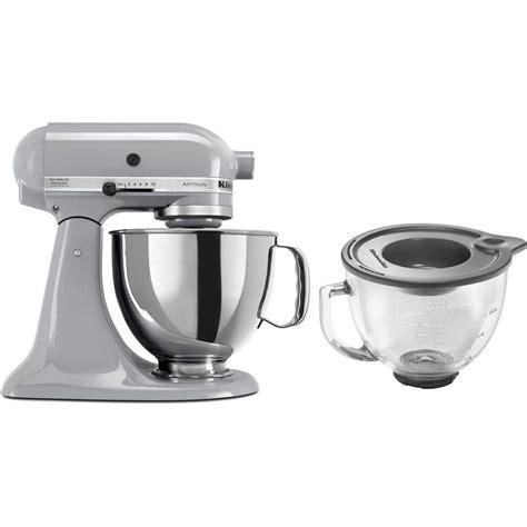 home kitchen aid kitchenaid artisan 5 qt metallic chrome stand mixer ksm150psmc 3 kit the home depot