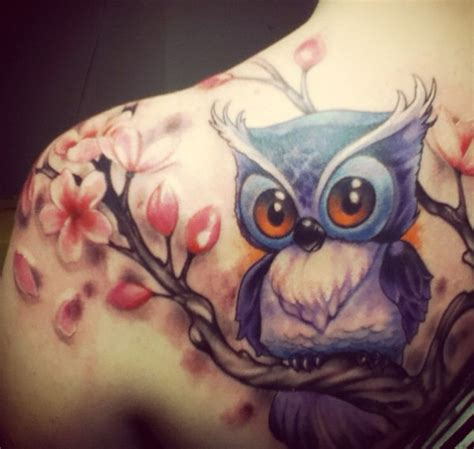 cute owl tattoos girly owl color images