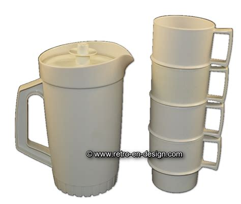 Pitcher Set Collection Tupperware vintage tupperware set with pitcher and four cups