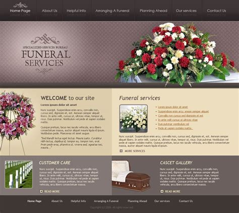 funeral powerpoint templates funeral services website template id 300110071
