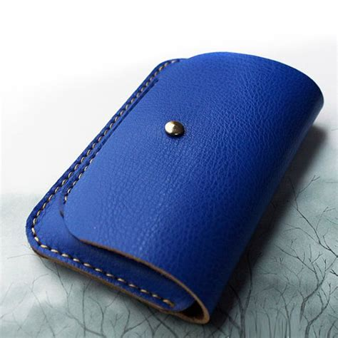 Handcrafted Phone Cases - handmade leather phone in blue wallet bag