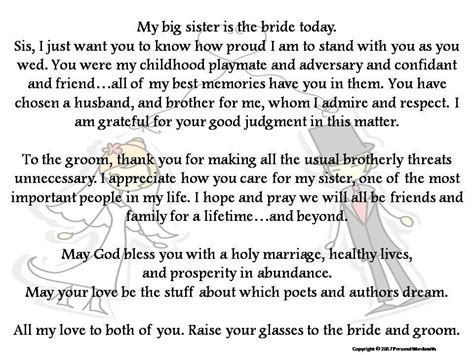 Toast to Bride from Brother Printable Download, Best Man