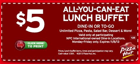 Stl Mommy 171 Pizza Hut 5 All You Can Eat Lunch Buffet All You Can Eat Lunch Buffet