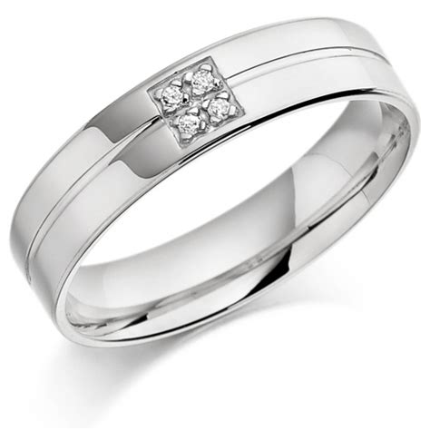 platinum gents 5mm wedding ring with centre groove and set
