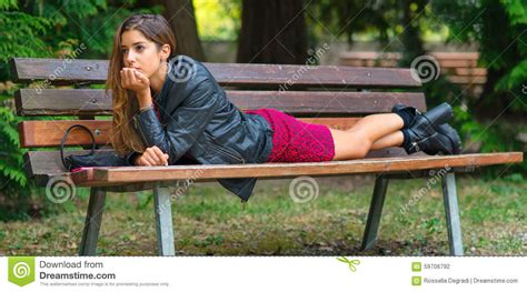 bench face teen face down on a bench stock photo image of look
