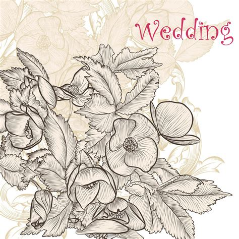 fashion elegant background with hand drawn flowers royalty elegant wedding background with hand drawn flowers stock