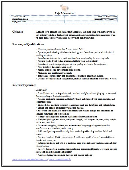 mail clerk resume 10000 cv and resume sles with free mail