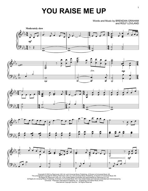 Raise Me Up Letra you raise me up sheet by josh groban piano 54423