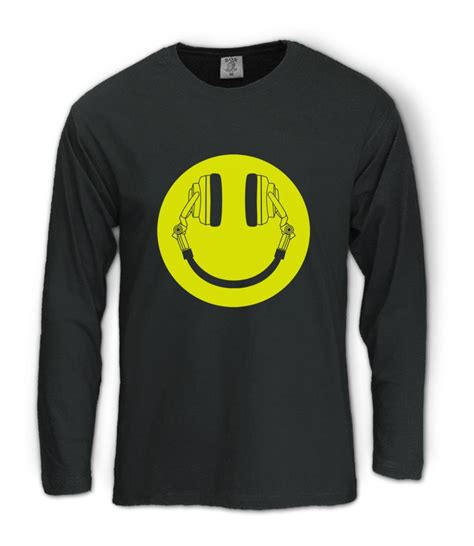 house md music list headphone smiley long sleeve t shirt acid house cans music rave weed club dj md