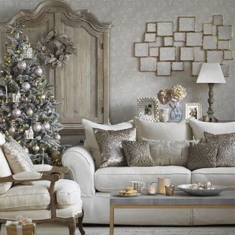 decorating for christmas with gold blue and gray 40 cozy living room d 233 cor ideas shelterness