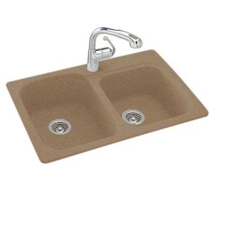 kitchen sinks composite swan dual mount composite 33 in 1 hole double bowl