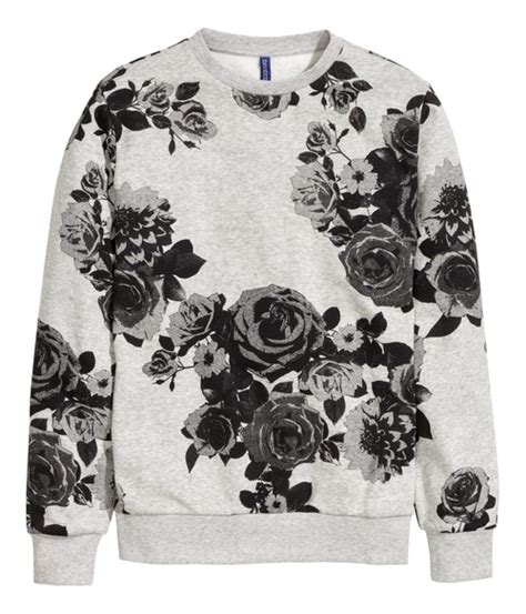Fower Flower Sweater Hody winston bishop s gray h m graphic floral print sweatshirt