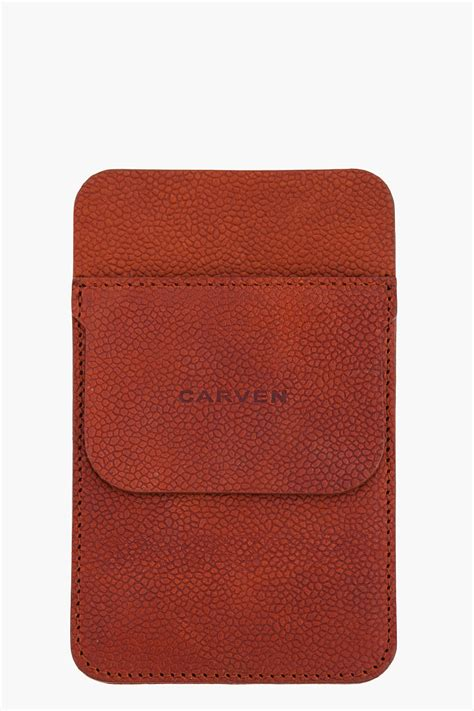 carven leather pocket protector in brown for lyst