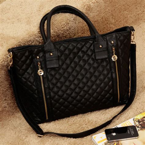 Quilted Black Purse by Black Quilted Zipper Purse Tote Shoulder Bag Satchel