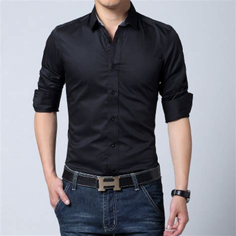 popular mens black dress shirt buy cheap mens black dress