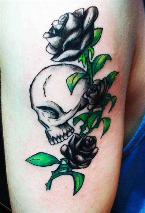 skeleton and rose tattoo images designs