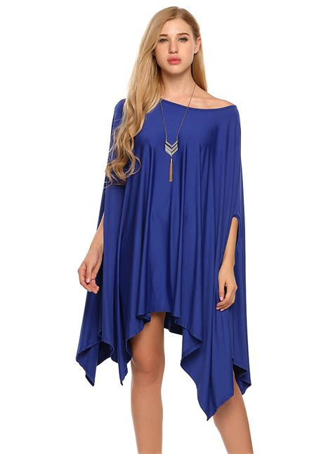 S Batwing batwing sleeve irregular day dress novashe