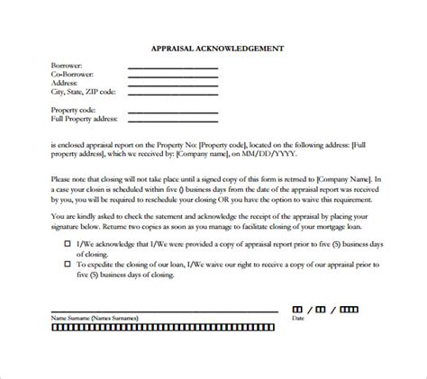 Appraisal Letter Not Received 31 Acknowledgement Letter Templates Free Sles