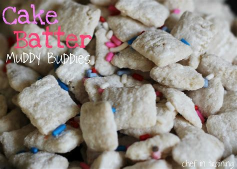 puppy chow chex recipe cake batter muddy buddies chef in