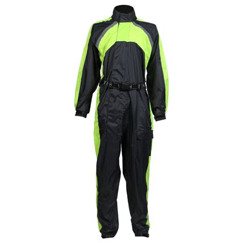 waterproof bike suit texpeed black hi vis elasticated waterproof suit