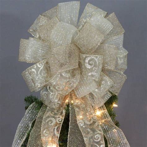 gold sparkle mesh swirl christmas tree topper bow 13