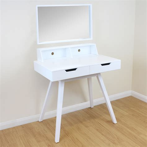 office desk mirror 2 drawer white vanity makeup dressing table removable mirror home office desk