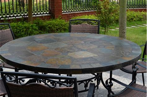 63'' Round Slate Outdoor Patio Dining Table Stone OCEANE
