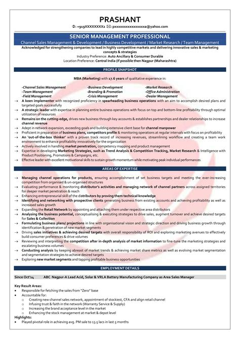 resume format for area service manager area sales manager sle resumes resume format