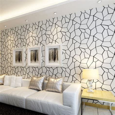 black white geometric pattern  woven wallpaper modern