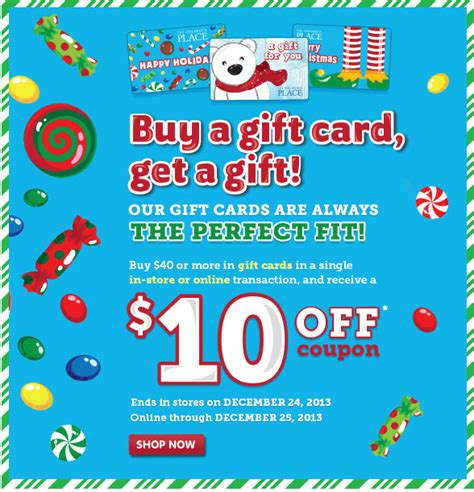 Places To Get Gift Cards - the children s place get a free 10 gift when you buy gift cards