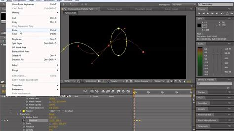 tutorial after effects path how to make particles move along a path mask or shape