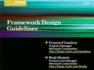 framework design guidelines book framework design guidelines pdc 2008 channel 9