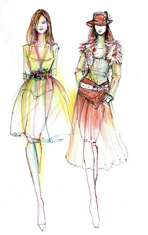 fashion illustration uses color pencil sketches fashion illustration