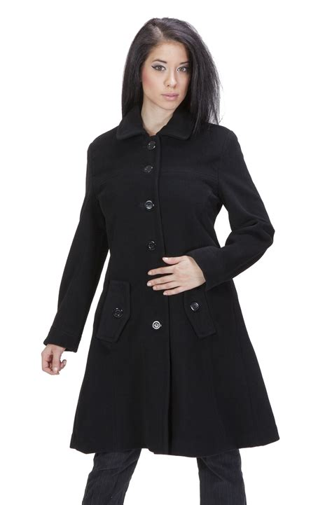 womens black swing coat ramonti womens black luxe wool swing car coat