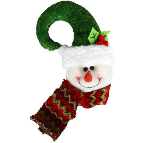 hook shaped festive snowman head door knob handle hanger