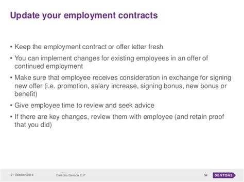 Change Of Contract Hours Letter Template Employment And Labour Seminar Presentations October 21 2014