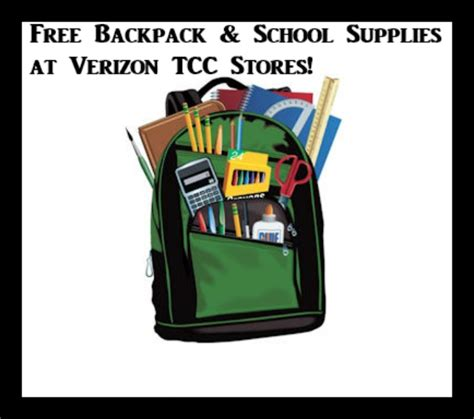 Verizon Backpack Giveaway 2017 - free backpack school supplies at verizon tcc stores july 23rd deal mama