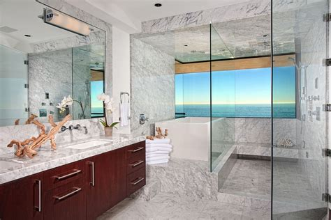 Ocean inspired bathroom with white marble flooring and
