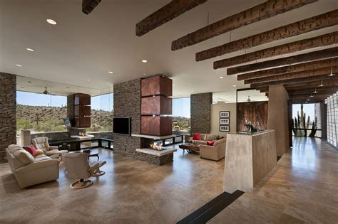 the living room scottsdale modern home with mountain views in scottsdale arizona