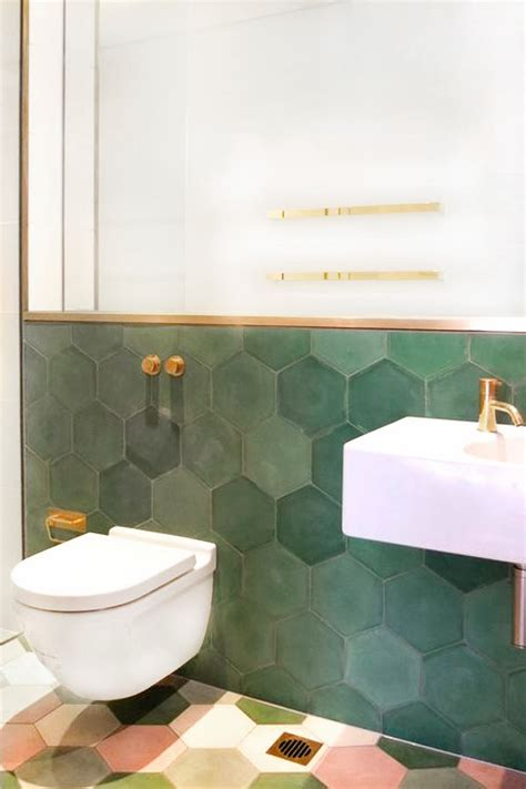 chicdeco blog bathroom trends honeycomb tiles and brass