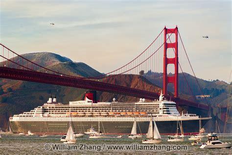 boats under san francisco queen mary 2 sails under golden gate bridge san francisco ca