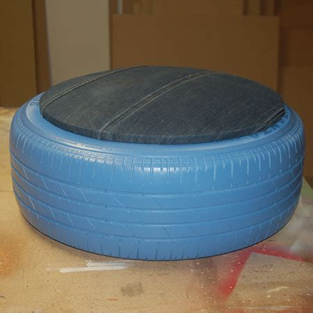 tyre ottoman home dzine craft ideas tyre ottoman with jeans fabric seat