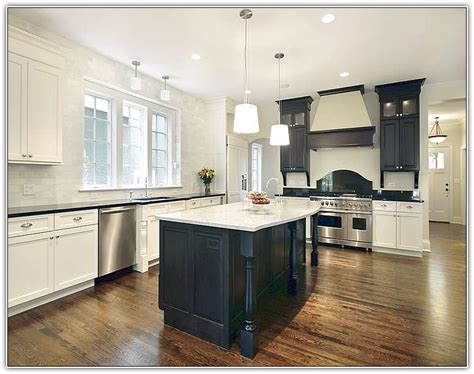 black kitchen island white cabinets quicua